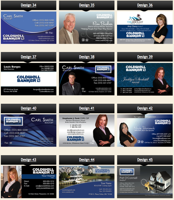 Coldwell Banker business cards designs